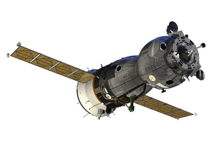 Spacecraft With Open The Solar Panels. 3D Model.
