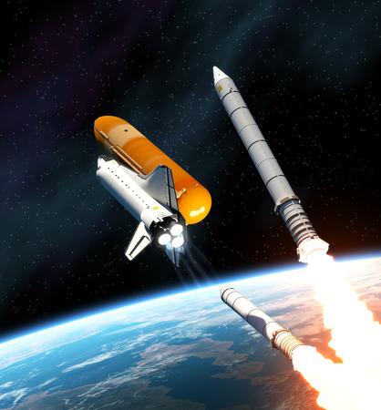 endeavor: Space Shuttle Solid Rocket Busters Detached. 3D Scene. Stock Photo