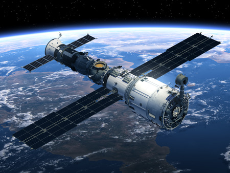 station: Space Station And Spacecraft In Space. 3D Scene.