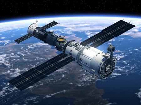 Space Station en ruimtevaartuigen in de ruimte. 3D-scène. Stockfoto - 41305775