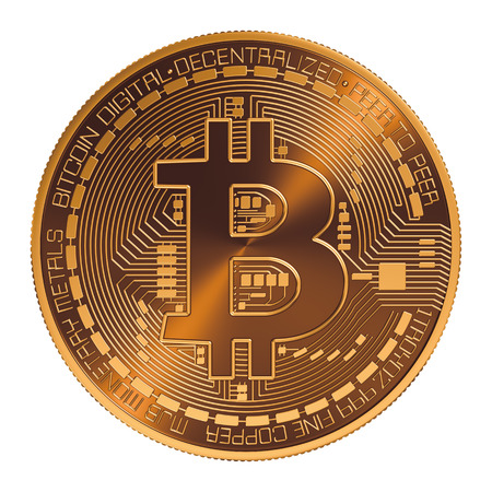 Bitcoin. Virtual Coin. 3D Model Op Witte Achtergrond. Stockfoto