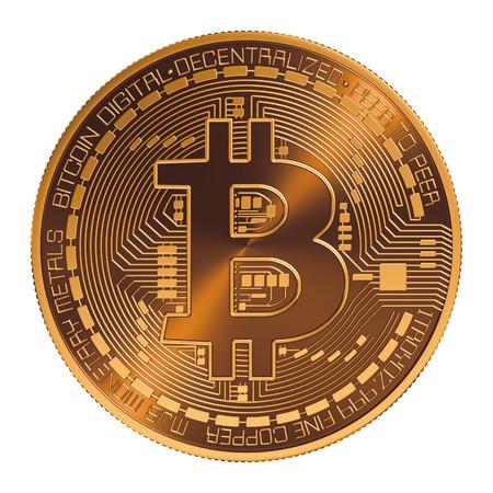Bitcoin . Virtual Coin. 3D Model Over White Background.
