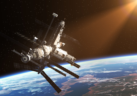 space ship: Space Station In The Rays Of The Sun. 3D Scene.
