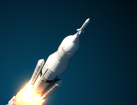 carriers: Space Launch System Takes Off. 3D Scene.