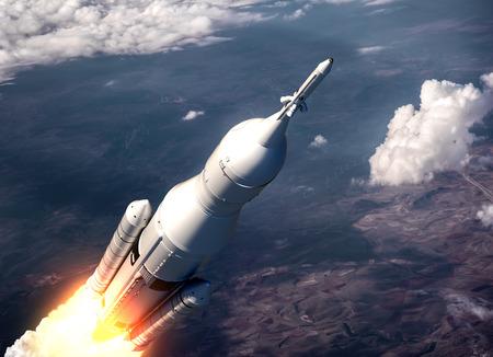 Space Launch System vliegen over de wolken. 3D-scène. Stockfoto - 41306000