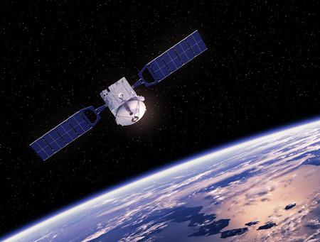 통신 공간 위성 궤도 지구. 3D 장면.