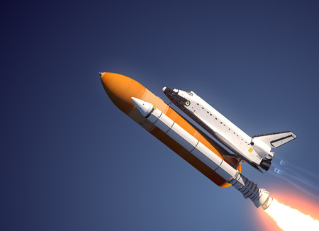Space Shuttle Launch. 3D Scene.