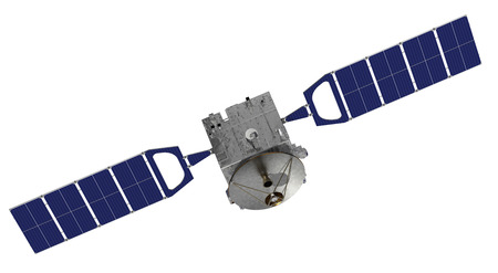 Satellite Over The White Background. 3D Model.