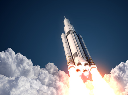 astronaut: Space Launch System Takes Off. 3D Scene.