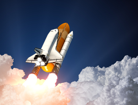 blast off: Space Shuttle Over The Clouds. 3D Scene. Stock Photo