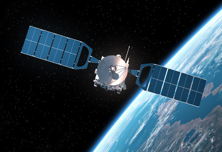 Space Satellite Orbiting Earth. Realistic 3D Scene. Stock Photo