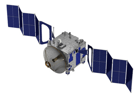 Satellite Deploys Solar Panels. 3D Model Over White Background.
