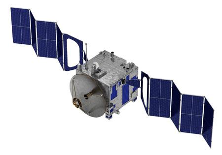 Satelliet implementeert zonnepanelen. 3D-model op witte achtergrond.