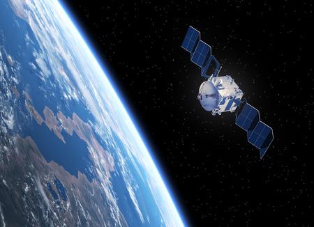 衛星は、太陽電池パネルを展開します。 リアルな 3 D シーン。