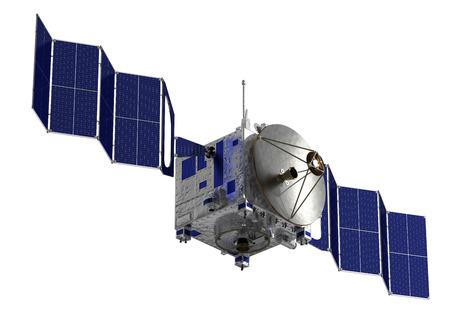 soyuz: Satellite Deploys Solar Panels. 3D Model Over White Background.