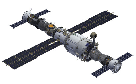 soyuz: Space Station And Spacecrafts. 3D Model Over White Background.