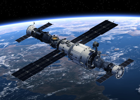 orbiting: Space Station And Spacecrafts Orbiting Earth. 3D Scene.