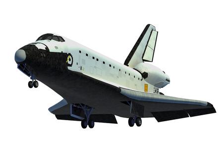 Space Shuttle Landing. 3D Model Over White Background.