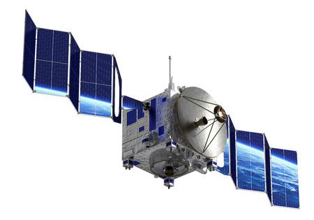 orbital spacecraft: Satellite Deploys Solar Panels. 3D Model Over White Background.