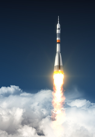 on off: Carrier Rocket Over The Clouds. 3D Scene. Stock Photo