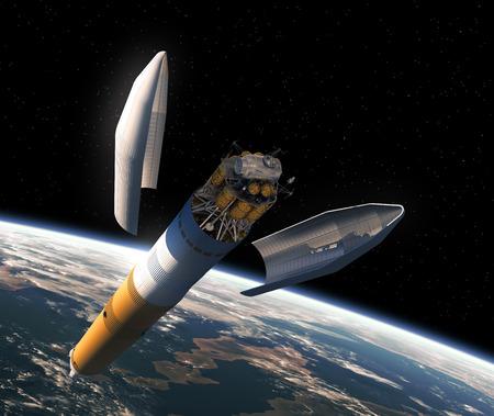 interplanetary: Launching Of Interplanetary Space Station. 3D Scene.