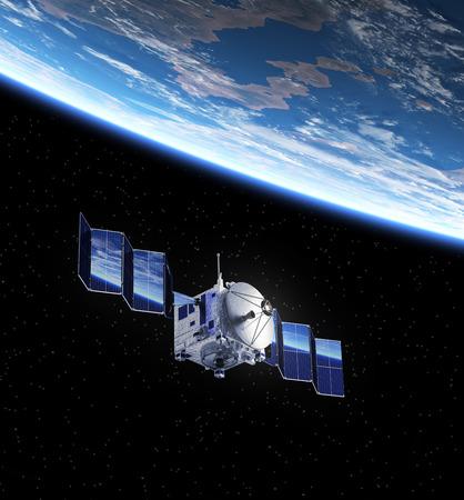 satellite in space: Satellite Deploys Solar Panels In Space. 3D Scene.