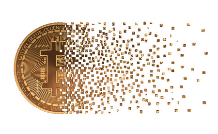 falling apart: Bitcoin Falling Apart To Pixels. 3D Model. Stock Photo