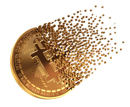 Bitcoin Falls Apart To Pixels. 3D Model. Stock Photo