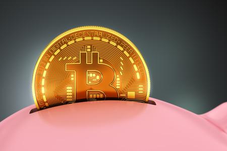 Het plaatsen van Bitcoin in Spaarvarken. 3D-scène.