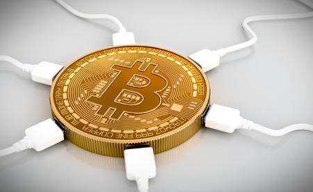 enchufe: Los cables USB conectados al Bitcoin. Escena 3D.