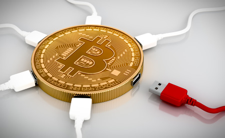 Red And White USB Wires Connected To The Bitcoin. 3D Scene.