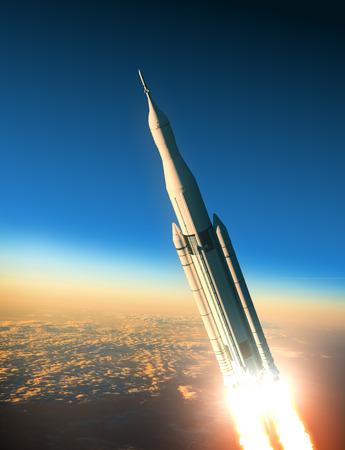 Space Launch System Over De Wolken. 3D-scène. Stockfoto