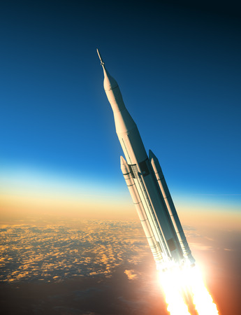 Space Launch System Over The Clouds. 3D Scene. Stock Photo