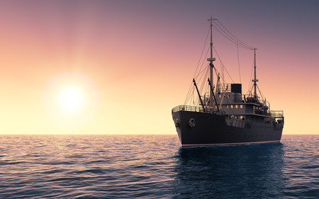 Cargo Ship Against The Evening Sky. 3D Scene. Banco de Imagens