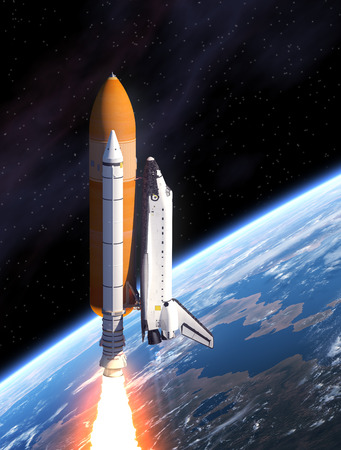 blast off: Space Shuttle And Planet Earth. 3D Scene. Stock Photo