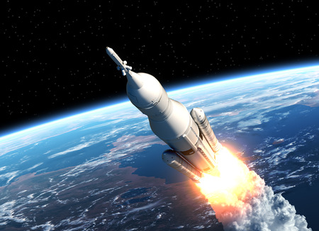 cohetes: Espacio sistema de lanzamiento despega. Escena 3D.