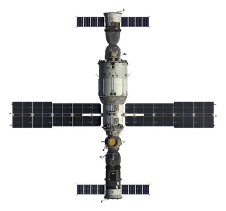 module: Spacecrafts And Space Station. 3D Model. Stock Photo