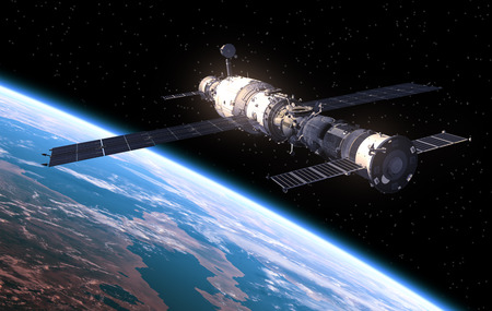 cohetes: Estación Espacial En El Espacio. Escena 3D realista. Foto de archivo