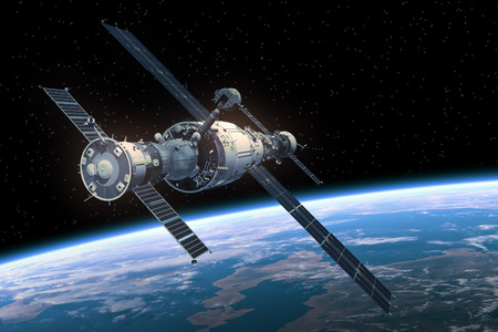 satellite in space: Space Station Orbiting Earth. Realistic 3D Scene.