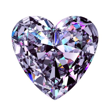 Diamond Heart. 3D Model Over White Background.