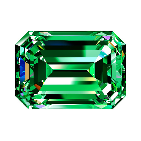 Green Emerald. 3D Model Over White Background.
