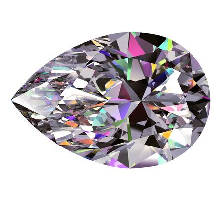 coeur diamant: Diamant Poire. Modèle 3D sur fond blanc.