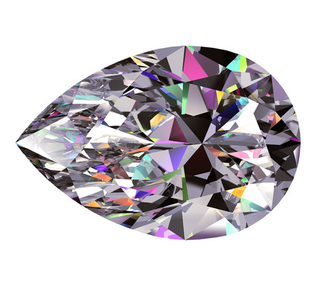 diamond: Diamond Pear. 3D Model Over White Background.