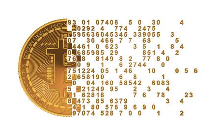 falling apart: Bitcoin Falling Apart To Digits. 3D Model.