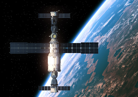 orbiting: Space Station Orbiting Earth. Realistic 3D Scene.