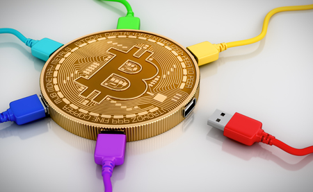Color USB Wires Connected To The Bitcoin. 3D Scene.