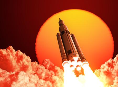 astronauta: Espacio sistema de lanzamiento despega En El Fondo Del Amanecer. Escena 3D. Foto de archivo