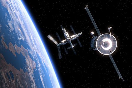 fly: The Spacecraft Flies To Space Station. 3D Scene.