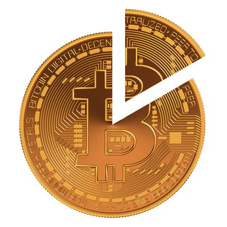 Bitcoin cirkeldiagram. 3D Model Op Witte Achtergrond.