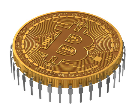 net trade: Bitcoin Microchip On White Background.